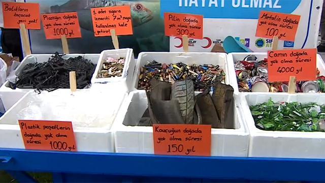 Lastikler, çöp konteynerleri, kasalar...Hepsi denizden çıktı