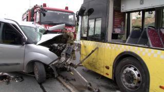 İETT otobüsü ile çarpıştı