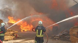 Muğla'da kereste atölyesinde yangın