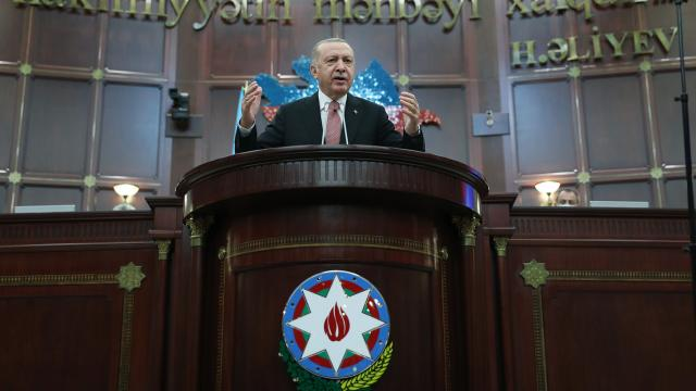 Cumhurbaşkanı Erdoğan: Dünya bilsin ki yarın da Azerbaycanın yanında yer alacağız
