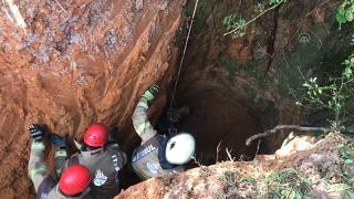Çukura düşen inek itfaiye ekiplerince kurtarıldı