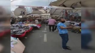 Sakarya'da fırtına pazar yerini dağıttı