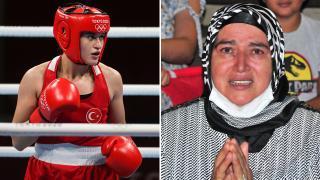 Olimpiyatlarda çeyrek finale yükselen kızını gözyaşlarıyla izledi