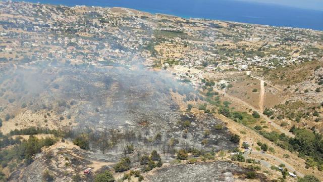 KKTCdeki yangına İHA ve helikopter desteği