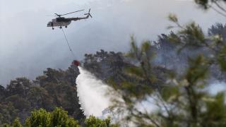 Marmaris ile Köyceğiz'deki orman yangınlarına havadan müdahale yeniden başladı