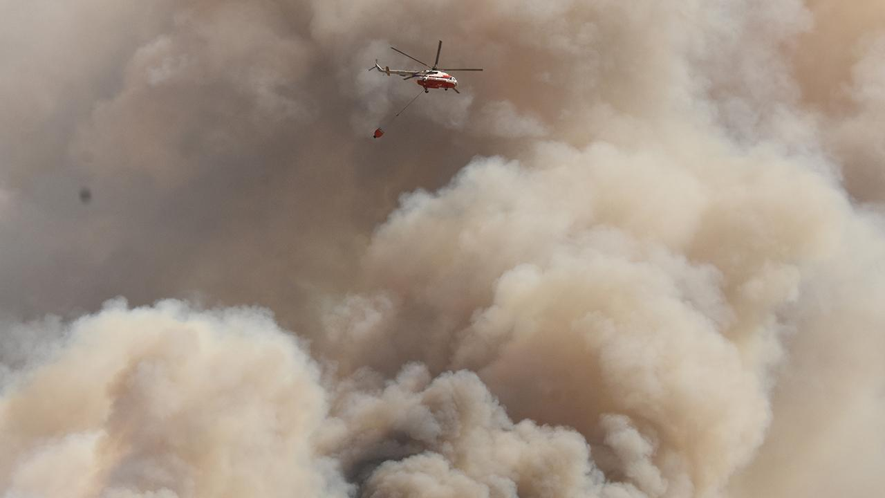 TRT Haber yangın söndürme helikopterinde