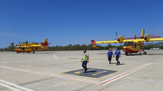 İspanyadan gönderilen yangın söndürme uçakları Dalamana ulaştı