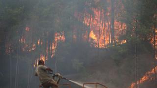 Manavgat'ta yangın söndürme çalışmaları devam ediliyor