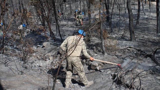 Mehmetçikten yangın söndürme çalışmalarına destek