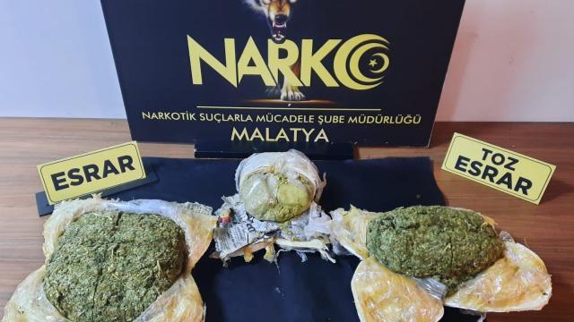 Malatyada 3 kilo 631 gram esrar ele geçirildi: 1 gözaltı