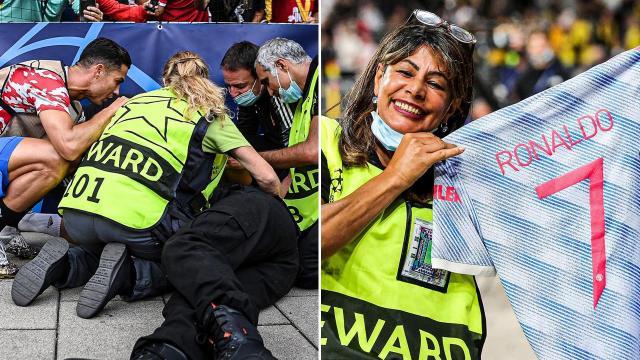 Ronaldo bayılttığı güvenlik görevlisine forma hediye etti