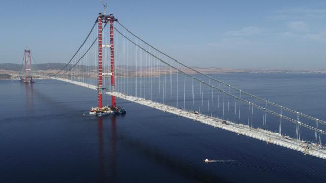 Çanakkale Köprüsünün tabliye montajlarında sona yaklaşıldı