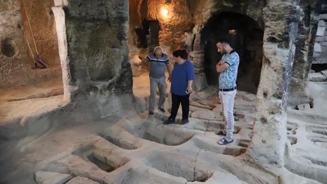 Aksaraydaki Aziz Mercurius yer altı şehrindeki mezarlar ilgi görüyor