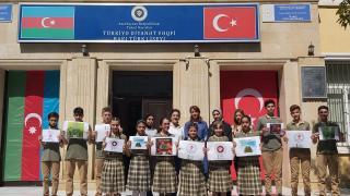 Türkiye Diyanet Vakfı Azerbaycan Bakü Türk Lisesi öğrencilerinden fidan bağışı