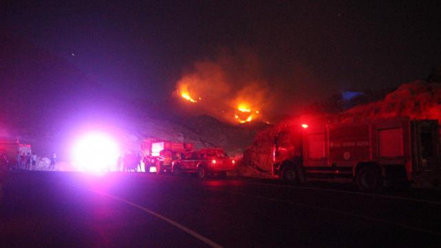 Bodrumda sarp arazide çıkan yangın söndürüldü