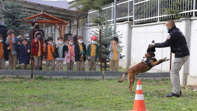 Narkotik köpeği `Sezar` öğrencilerin ilgi odağı oldu