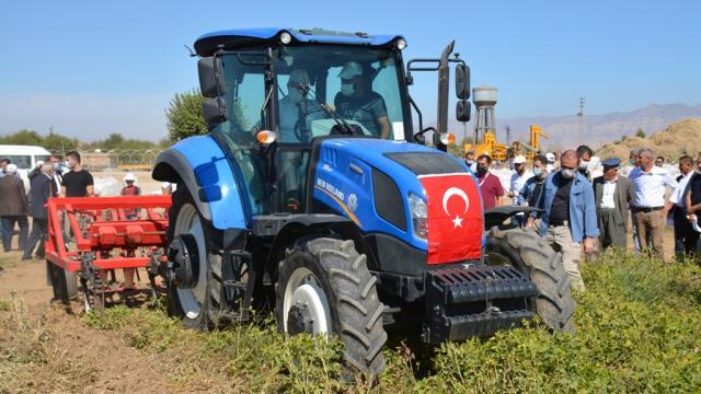 Şırnakın Suriye sınırındaki Bostancı köyünde yer fıstığı hasadı yapıldı