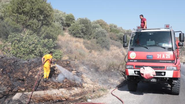 Hatayda zeytinlik alanda çıkan yangın söndürüldü
