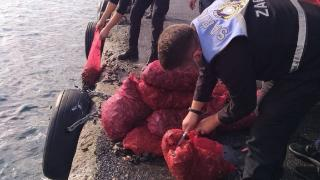 Sarıyer'de kaçak avlanan 1 ton midye ele geçirildi