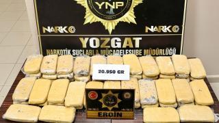 Yozgat'ta durdurulan kamyondan 20 kilo 950 gram eroin çıktı
