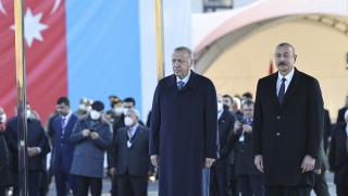 Cumhurbaşkanı Erdoğan, Azerbaycan'da resmi törenle karşılandı