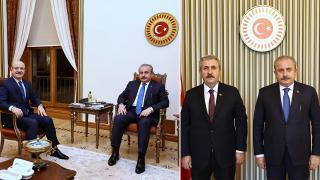 TBMM Başkanı Şentop, YÖK Başkanı ile BBP Genel Başkanını kabul etti
