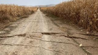 Karaman'da yer altı su seviyesi azaldı, yolda yarıklar oluştu