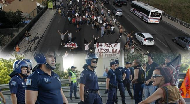 Portekizde köprü eylemi gözaltıyla bitti