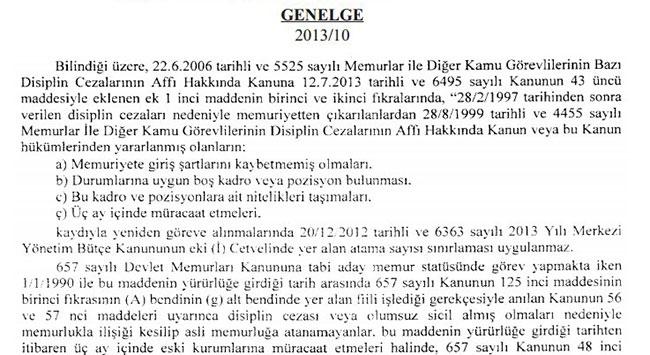 28 Şubat mağdurları için genelge yayımlandı