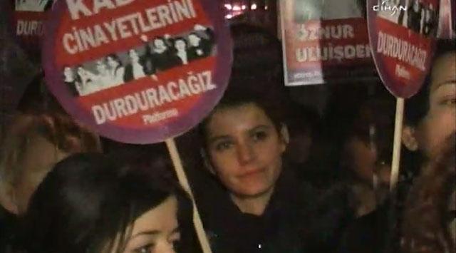 Beyoğlunda Kadına Şiddet Protestosu