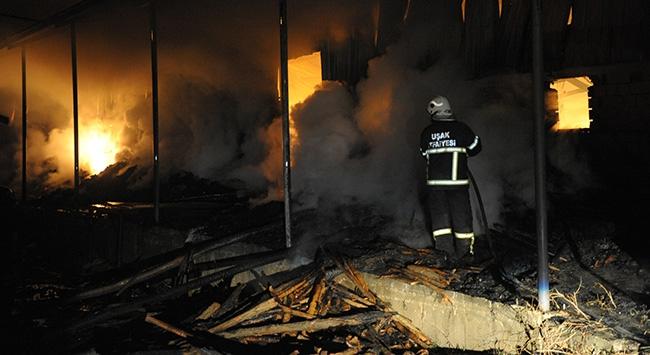 Uşakta fabrika yangını