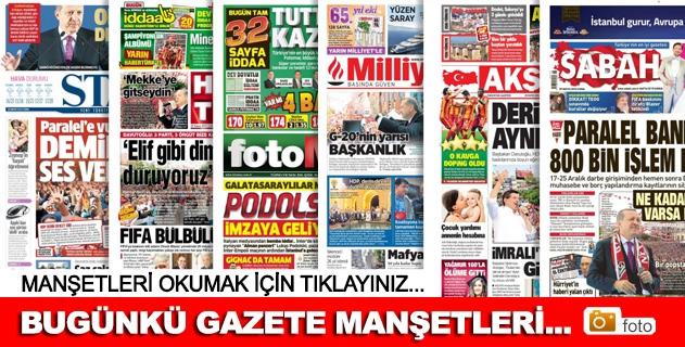 29 Mayıs 2015 Gazete Manşetleri