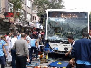 Ankara Dikimevinde otobüs kazası İLK GÖRÜNTÜLER