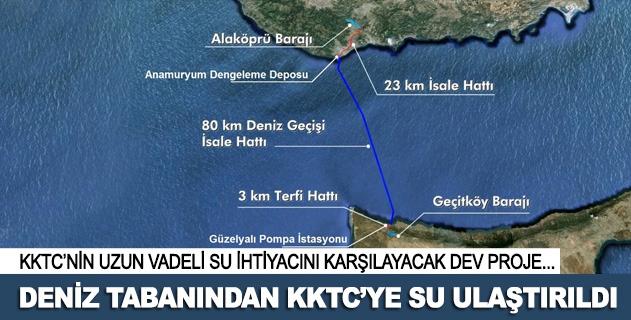 Deniz tabanından KKTCye su ulaştırıldı
