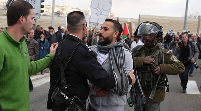 """İsrail askerlerinden """"barış yürüyüşüne"""" müdahale"""