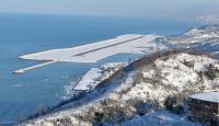 Denizdeki havalimanına yoğun ilgi