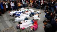 Sığınmacılardan Rusyanın hava saldırılarına protesto