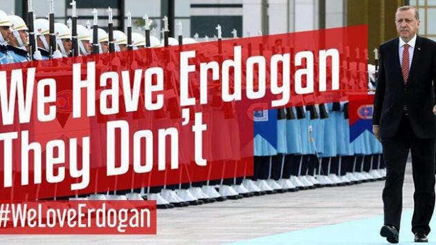"""Cumhurbaşkanı Erdoğana """"hashtag"""" desteği"""