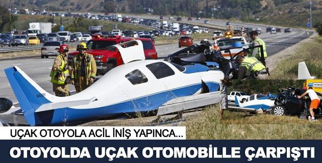 Acil iniþ yapan uçak otomobille çarpýþtý