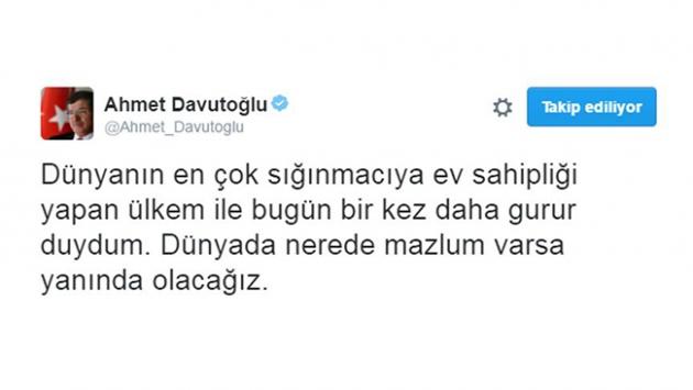 Başbakan Davutoğlundan anlamlı mesaj