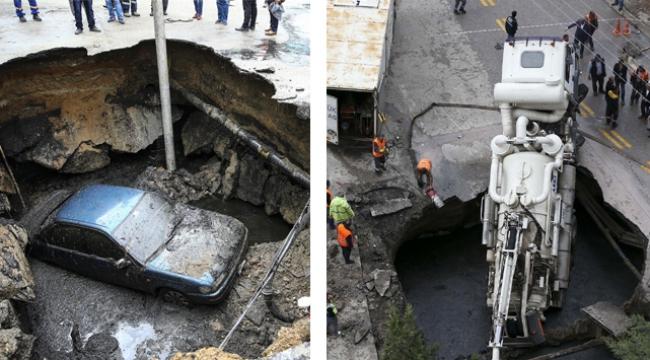 Bir günde iki araç aynı çukura düştü