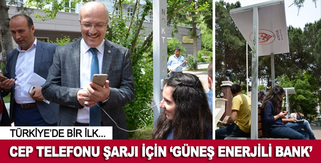 Cep telefonu şarjı için güneş enerjili bank