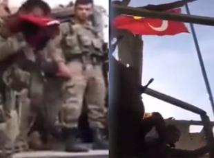 Nusaybinde Türk bayrağının göndere çekiliş anı