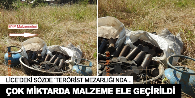 Sözde terörist mezarlığında çok miktarda malzeme ele geçirildi