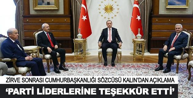 Erdoğandan parti liderlerine teşekkür
