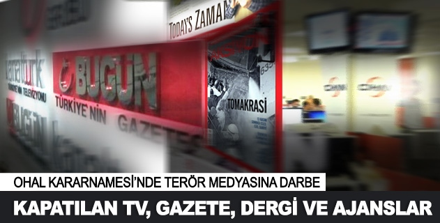 Kapatılan Tv, gazete, dergi ve ajanslar