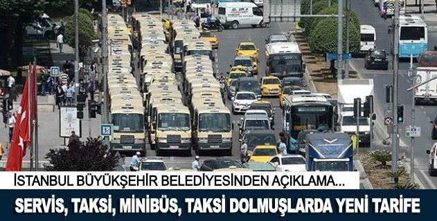 İstanbulda servis, taksi, minibüs, taksi dolmuşlarda yeni tarife