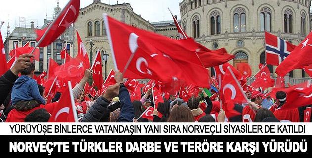 Norveçte Türkler darbe ve teröre karşı yürüdü
