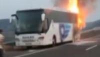 Yolcu otobüsü seyir halindeyken alev aldı