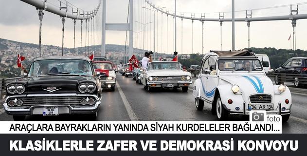 Klasik otomobillerle zafer ve demokrasi konvoyu